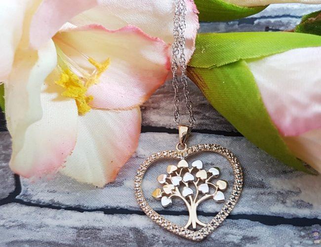 Lebensbaum Anhänger Silber Geschenk Herz Halskette 01