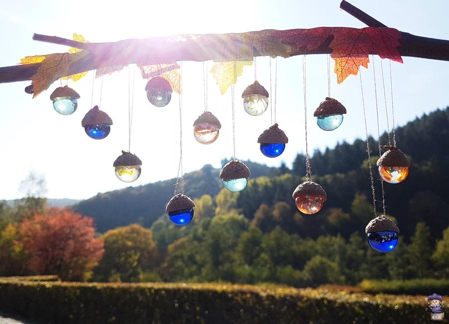 Herbst Glasmurmel Fensterdeko DIY Eicheln 04