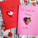 DIY Herzen aus Wachsstiften – Grußkarten basteln