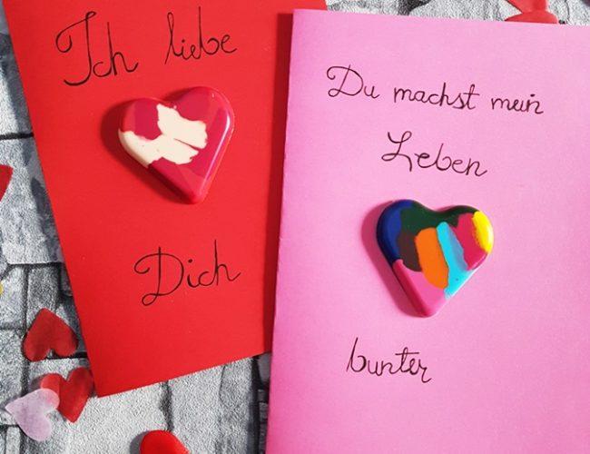 DIY Herzen aus Wachsstiften Upcycling Grußkarten Valentinstag Muttertag 15