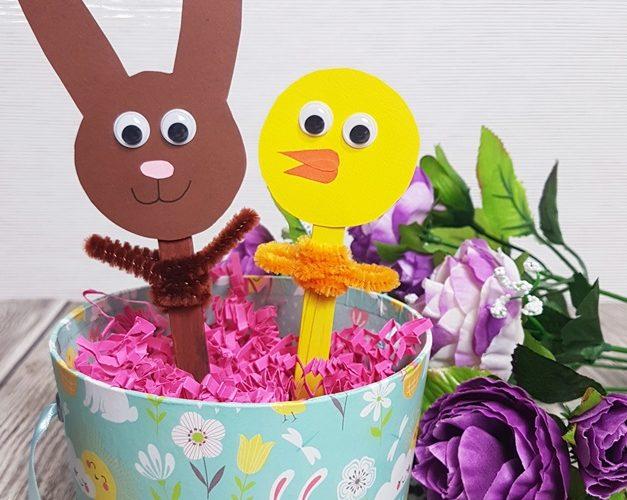 DIY Ostern basteln mit Kindern Handpuppen Eisstiele Upcycling 12