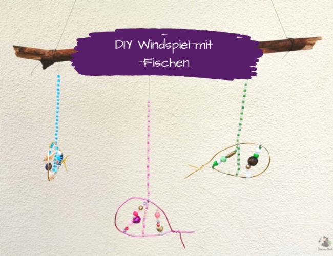 DIY Windspiel Fische Perlen basteln mit Kindern Grafik