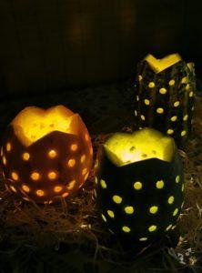 Kürbis Teelichthalter DIY Basteln 10